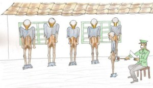 (10)The guards check the anuses to assess the level  of frailty of each detainee.
