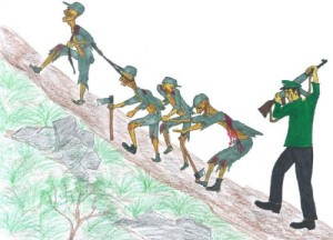 (12)Detainees are forced to climb up and down steep mountainsides.