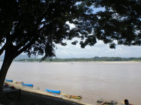 The Mekong River is directly in front of the Chiang Saen Police Station.