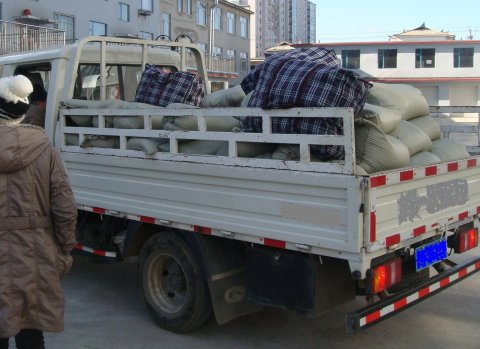 "Because of the strict crackdown at the North Korean border, our local staff transported this truckful of supplies in under the pretence of ""visiting their relatives."""