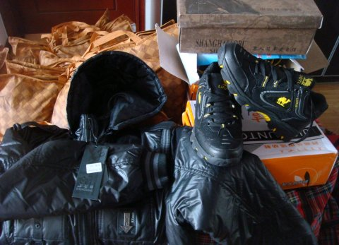 Supplied were 100 winter jackets (100RMB per jacket), 100 pairs of winter shoes (50RMB per pair), and 5 tons of rice (4.5RMB per kg).