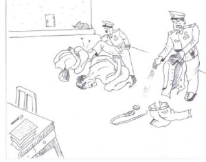 (3)Male detainees also go through the same personal searches on  arrival. The guards then kick them into cells.