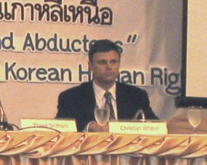 Mr. Christian Whiton (right), Deputy Special Envoy for Human Rights in North Korea, US Department of States, discusses the U.S. government's guiding principle on North Korean human rights.