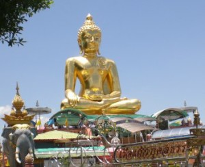 The giant golden Buddha landmark in northern Thailand